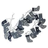 8'ブルーとグレー装飾用クリスマスソックスAdvent Calendarガーランド
