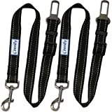 Zenify Dog Car Seat Belt Lead (2 Pack) - Heavy Duty Durable Leash for Dogs Puppies - Pet Harness Vehicle Safety (Black)