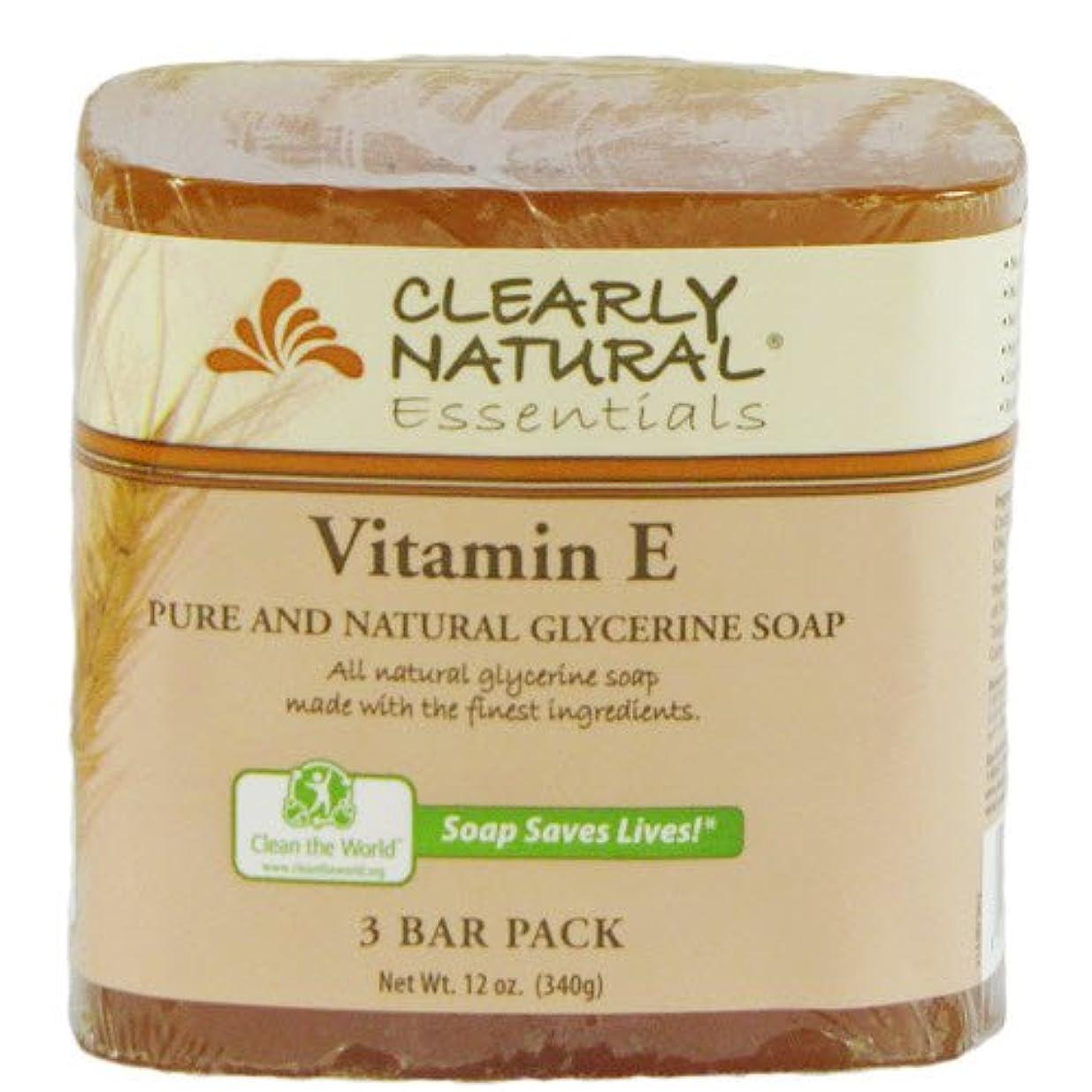 必需品鰐普遍的なClearly Natural, Pure and Natural Glycerine Soap, Vitamin E, 3 Bar Pack, 4 oz Each