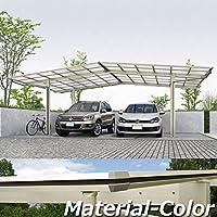 YKKAP エフルージュ プラス M合掌セット 標準柱(H20) M57-0930・0930 ポリカーボネート屋根 本体:プラチナステン JCS-X 『アルミカーポート 2台用』 側枠中帯:木調カラー キャラメルチーク(YF)