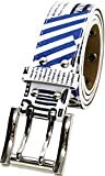 'Mru(エムアールユー) ベルト 国旗 プリント カジュアルベルト Wピン メンズ ホワイト Free