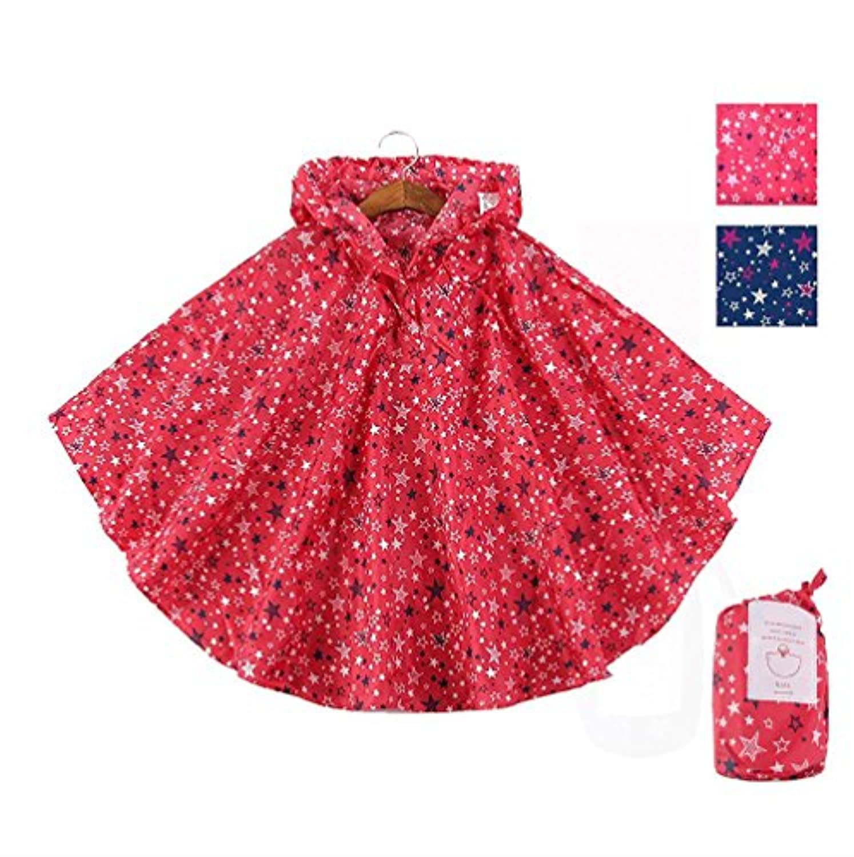 EZOM レインコート キッズ かわいい 超軽量 撥水加工 レインウェア ポンチョ かっぱ 子供 男女兼用 収納袋付き (XL, レッド)