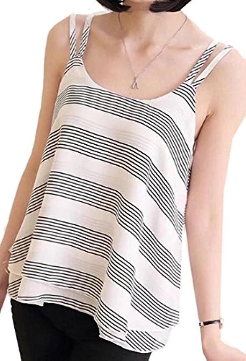 ぬいぐるみ処方する週間papijamレディースファッションストラップシフォンストライプ夏トップTanks US サイズ: L カラー: ホワイト