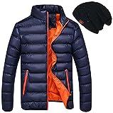 【ビーホワイ】ダウン ジャケット メンズ ライト 超軽量 防寒 撥水 アウター ダウンコート オシャレ 帽子付き (L, ネイビー053)