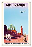 22cm x 30cmヴィンテージハワイアンティンサイン - マラケシュ、モロッコ - 空気によって北アフリカ - エアフランス - ビンテージな航空会社のポスター によって作成された マウリス グイラウド-リビエレ c.1934