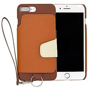 RAKUNI Light PU Leather Case Book Type with Strap for iPhone 7 Plus (ブラウン) PUレザー スタンド機能 カードケース カバー ストラップホール付き RCB-7P-BR
