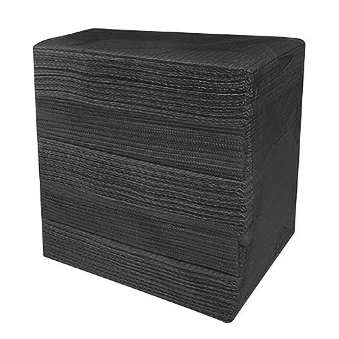 上下するプリーツ固体完全防水ネイルペーパー ブラック 50枚入