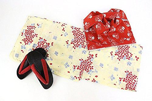 浴衣3点セット 浴衣+作り帯+下駄 20柄から選べる福袋 レディース 浴衣セット フリーサイズ 9.クリーム×赤(あじさい)セット