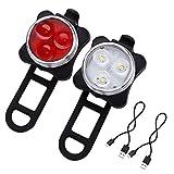 LE LED自転車ライト USB充電 防水 ヘッドライトとテールライト 4点灯モード 前と後 赤と白