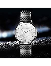 PV 腕時計 ウオッチ クォーツ かわいい 腕時計 オシャレ 簡単なデザイン 誕生日プレゼント (ブラック)
