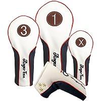 指ゴルフヘッドカバーウッドドライバーフェアウェイウッドRescueパタークラブセット、デラックス合成レザー1 3 xヘッドカバーforメンズレディース, Fit 460 cc TaylorMade Callaway Titleist Ping Nike Yamaha 3 Piece Set(#1, 3, X)