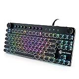 タイプライター風メカニカルキーボード 青軸 81キー USB有線 ゲーミングキーボード 英語配列 RGB 18色LEDバックライトモード オフィス/ゲーミング用機械キーボード(正規輸入保証品)