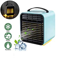パーソナルクーラー、USBポータブルエアコンクーラー加湿器ナイトライトモード3スピードオフィスデスクトップ冷却空気浄化ファン,Blue