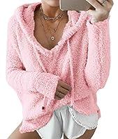 Keaac レディースクラシックフリースロングスリーブフードプルオーバースウェットシャツポケット付き Pink XXS