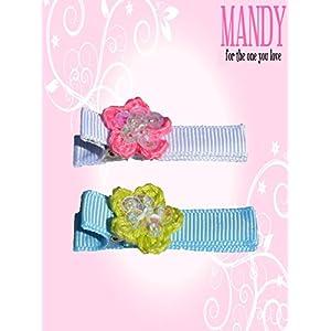 マンディ ベビー ヘアクリップ 2個セット Spankle Flower Fuschia_Mint