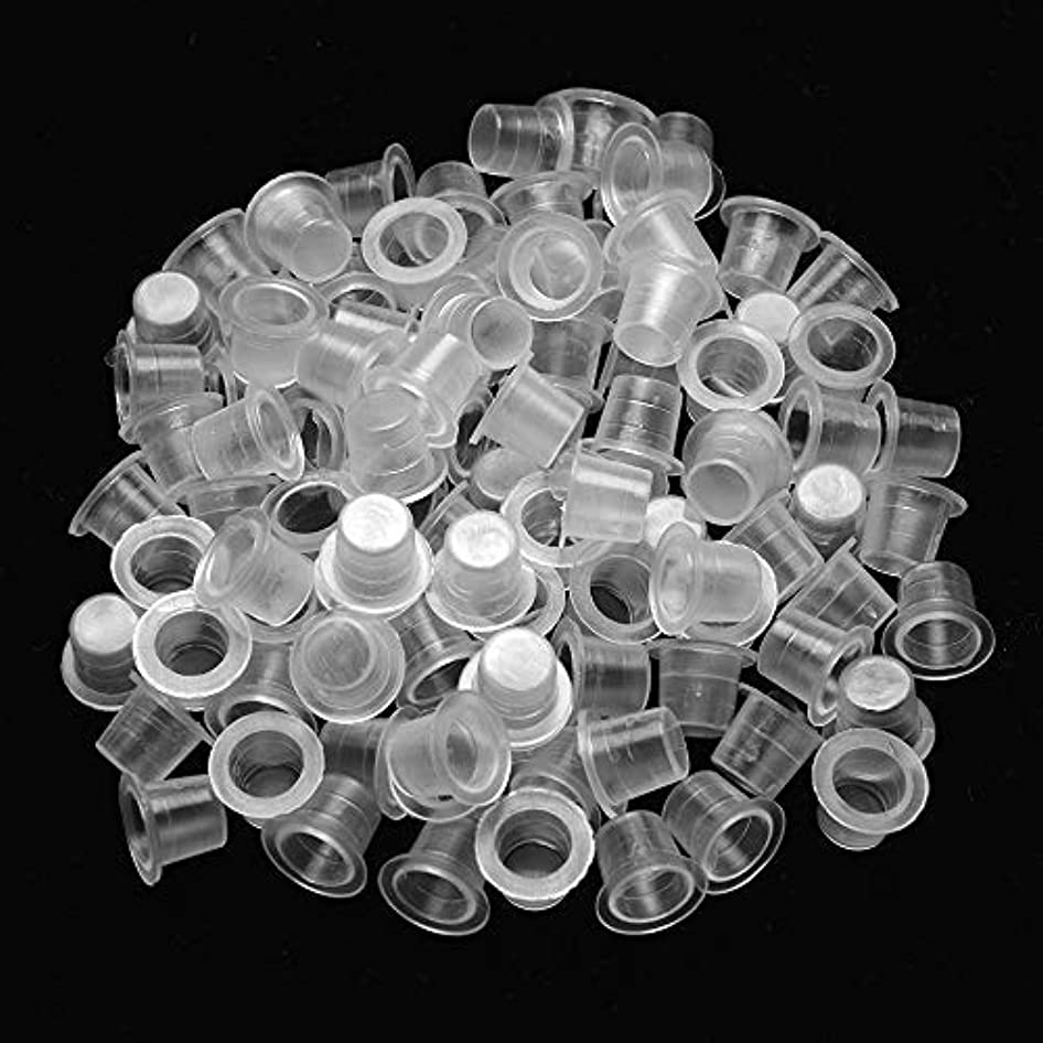 湿地ドループ移行するATOMUS インクキャップ、タトゥーインクカップ、使い捨て永久的な眉毛入れ墨ピグメントコンテナ、0.8cm 1.3cm 1.5cm 100個-1000個セット (1.3cm 1000pcs)