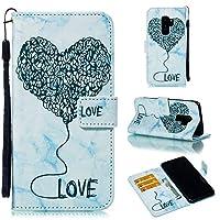 MGVV Galaxy S9 Plus Wallet ケース, Fashion Heart Embossing ケース 手帳型 PU 全面保護 スタンド機能 横開き カード収納 ケース for Samsung Galaxy S9 Plus Blue