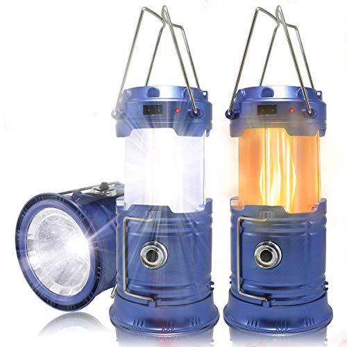 HLZDHKJ LEDランタン懐中電灯3モード切替 充電式折り畳みテントライト防水仕様停電防災対策登山ナイトフィッシングアウトドアキャンプ2個セット[ブルー]
