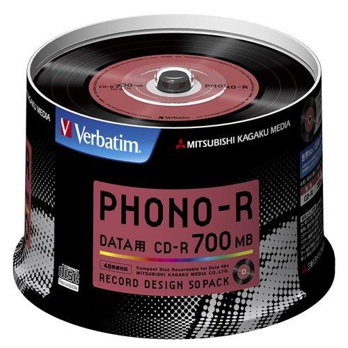 三菱ケミカルメディア Verbatim 1回記録用 CD-R SR80PH50V1 (レコードデザイン/48倍速/50枚)