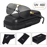 Zealme Polarized Aviator Driving Sunglasses Mirrored Lens Metal Frame for Men Fashion Eyewear UV400 Sun Glasses with Case