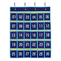 hanlinggg Numbered教室ポケットチャート携帯電話用の計算機ホルダーHanging Organizer with 4メタルフック ブルー