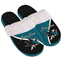Forever Collectibles San Jose Sharks Women's Cursive Colorblock Slippers スポーツ用品 S 【並行輸入品】