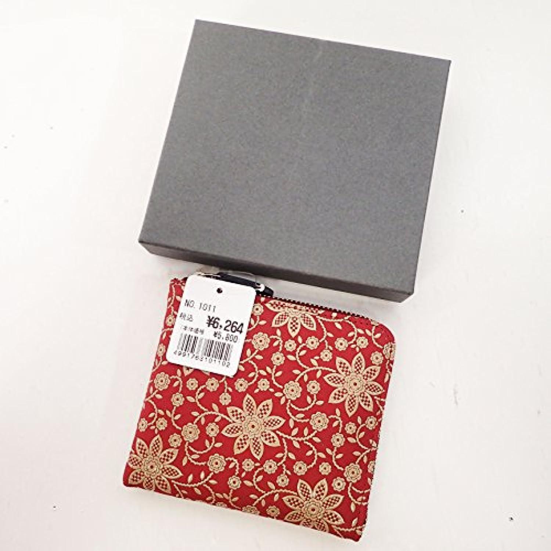 印傳屋 印伝 上原勇七 小銭入れ コインケース カードケース 名刺入れ 鹿革 レザー クレマチス柄 レッド系×ベージュ系