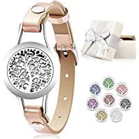 Essential Oil Diffuser BraceletStainless Steel Aromatherapy Locket Bracelets Leather Band with 8 Color PadsGirls Women Jewelry Gift Set