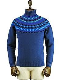 Drumohr ドルモア メンズ フェアファイル柄 ウールニット モックネックセーター D4W104P 31 1 (ブルー)