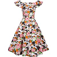 iisutas Womens Plus Size Retro Dresses,Ruffle Off Shoulder Floral Print Dress Swing Party Dress