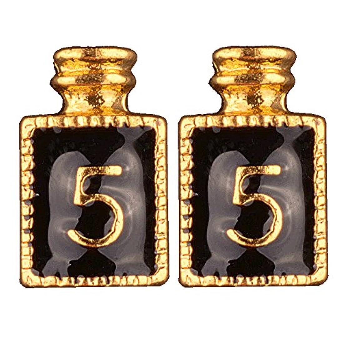 正直チップ[AQUA NAIL] ネイルジュエリー コロン 香水 パーツ 2個入り (3.gold(黒2個入り))