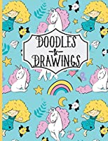 """Doodles & Drawings: Sketch Book For kids Drawing Book with Girls and Unicorn Pattern Sky blue 8.5""""X11"""" 110 Pages"""
