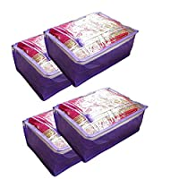 PrettyKrafts Saree Covers, Sari Organiser, Lehanga Cover, Non Woven Material and Transparent Front with Designer Bow - Purple (4 pcs)