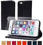 【steady advance】 最高級 本革 ( 牛革 ) iPhone6s / iPhone6 ケース 【 硬度 9H 液晶保護 強化 ガラスフィルム 】 セット アイフォン6 手帳型 スマートフォン 携帯 電話 カバー マグネット式 財布型 スマホ ケース カバー カード ポケット スタンド 機能 4.7インチ対応 ( iPhone6s, スマルトブルー)