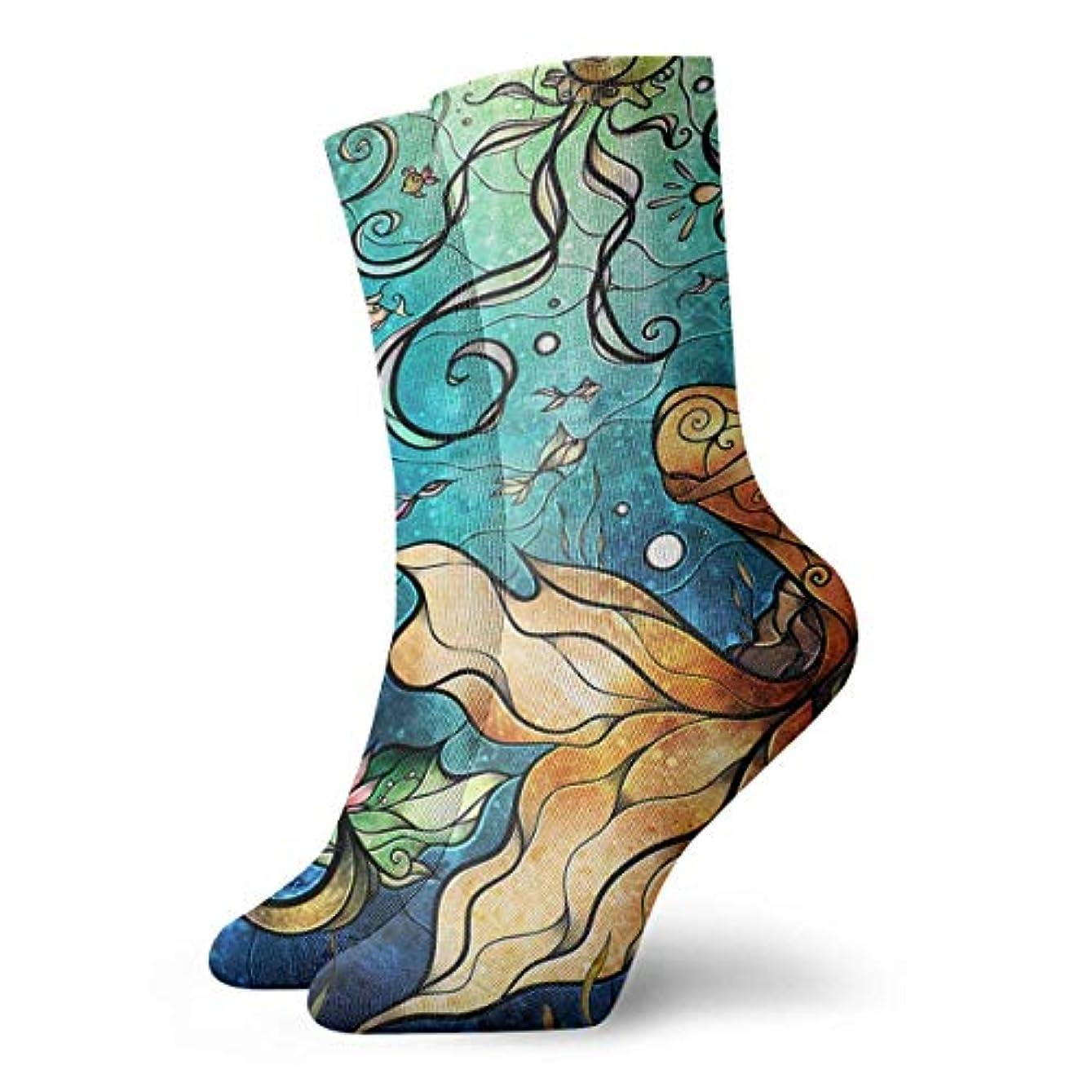 ゆるいペースト支払い海の下のQrriyクリスマス靴下マーメイドは、女性の男性のための冬の居心地の良いスリッパ靴下