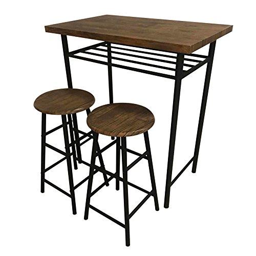ドウシシャ カウンターテーブル ブラウン 幅80×奥行50×高さ90.5cm カウンターテーブル&チェア 3点セット CS8050-BR