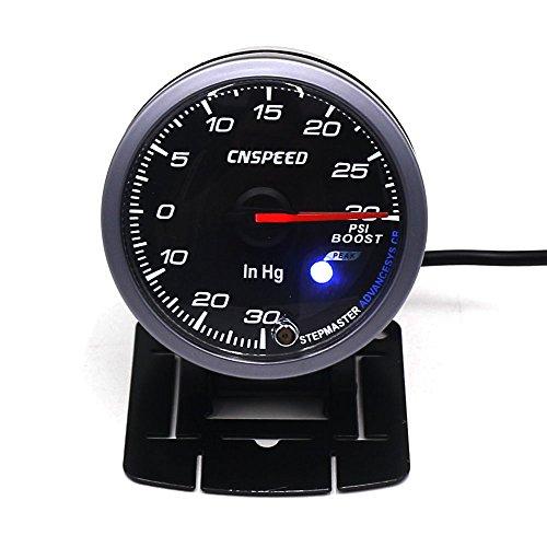 CNSPEED ターボ計 ブースト計 ステビングモーター60φターボブースト計 ホワイト&アンバー色切り替え可能 ワーニング機能付きレーサーゲージ