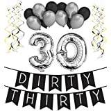 Dirty Thirty - 30th Birthday Party Pack - Black & Silver Happy Birthday Bunting Poms and Swirls Pack- Birthday Decorations - 30th Birthday Party Supplies [並行輸入品]