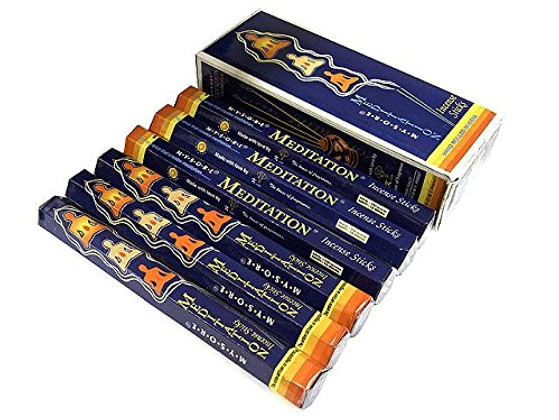 分泌するまどろみのある階段MYSORE BANDHU PERFUMERY WORKS MEDITATION メディテーション香 スティック 6箱セット