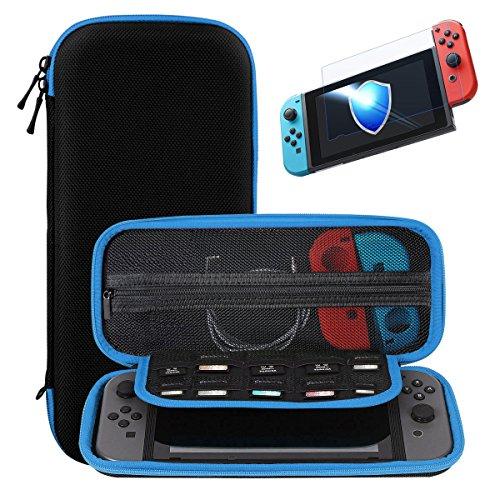 Nintendo Switch ケース 強化ガラス付き Ztotop ニンテンドースイッチ専用 任天堂収納カバー 専用保護 旅行やホームストレージに最適 全面保護 ケーブル/カードなど小物収納可能 画面保護シート付き 9H高品質ガラスフィルム 液晶保護フィルム 0.33mm高透過率 2.5D加工 疎水性 飛散防止技術 耐指紋 (ブラックそしブルー)