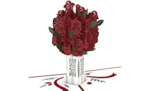 Lovepop Rose Bouquet Pop Up Card - 3D Card, Greeting Card, Valentines Day Card, Anniversary Card, Pop Up Valentine's Day Card, Flower Card, Romance Card, Card for Wife