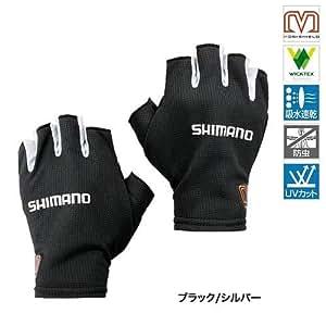シマノ グローブ  MSサンシェードグローブ5 ショート GL-008N ブラック/シルバー XL