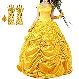 Interlink ハロウィン 美女と野獣 変装 プリンセス お姫様 美人 大人サイズ 金色 オシャレ コスチューム ドレス 手袋 チョーカー 髪飾り 4点セット (M)