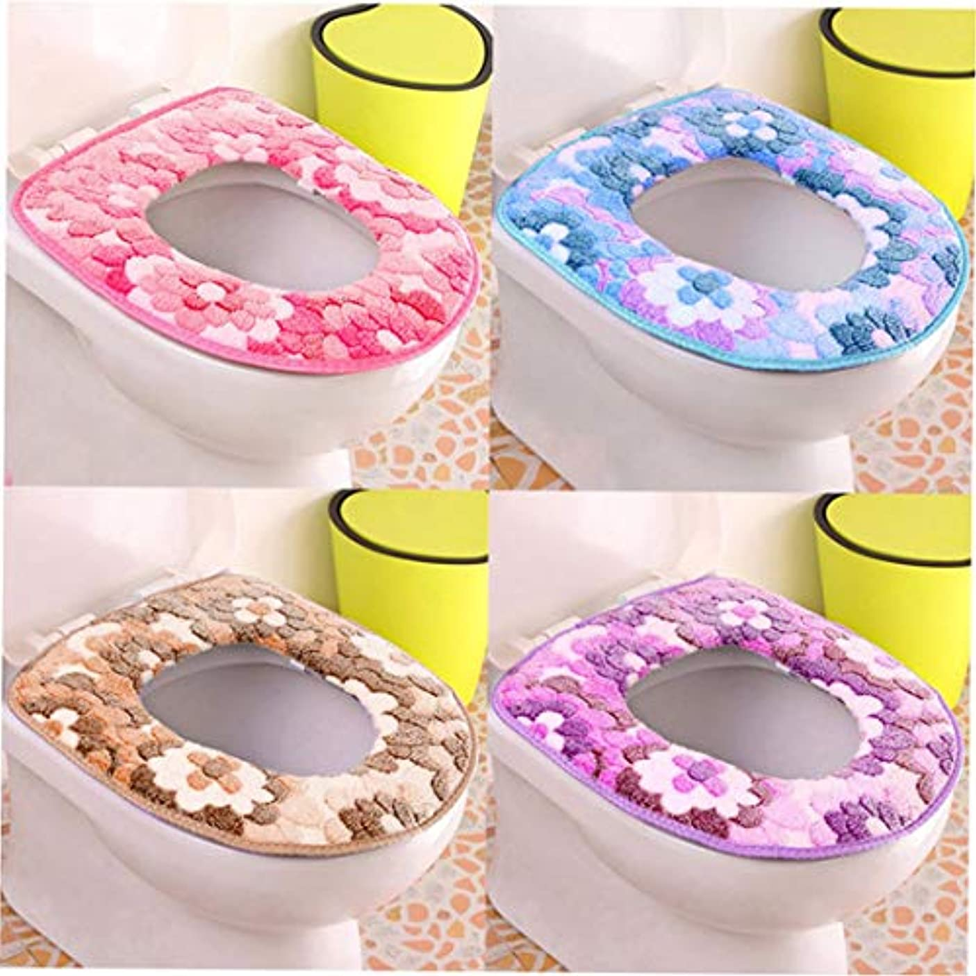 伝統マイク奨励Swiftgood 浴室柔らかく厚い暖かい便座カバーパッド伸縮性洗える布トイレ便座クッション