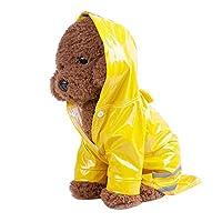 ペット犬反射フード付きレインコートペット防水犬幸運な太陽犬用ジャケットアウトドアコート (S, イエロー)