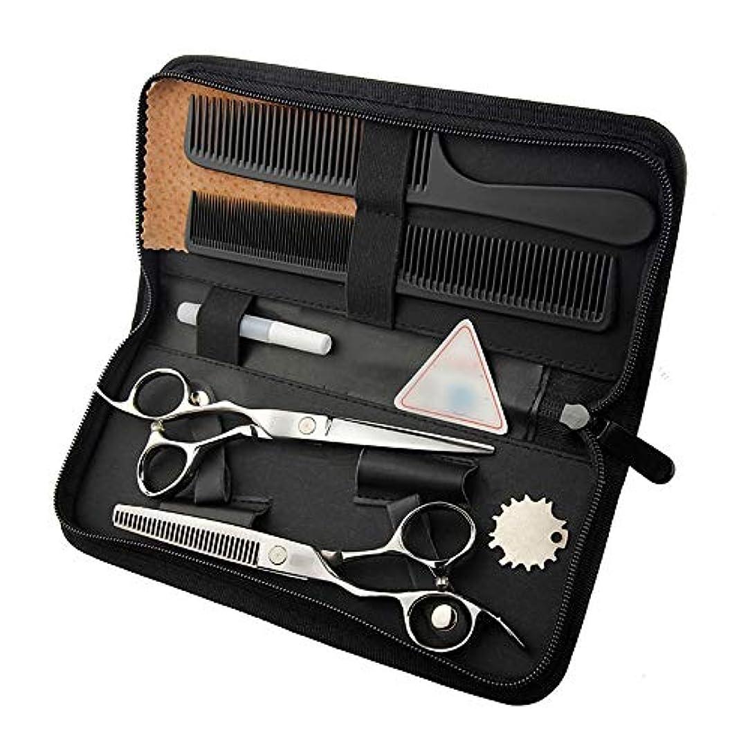 イサカ虚栄心句6インチ美容院プロのヘアカットフラットシザー+歯シザー モデリングツール (色 : Silver)