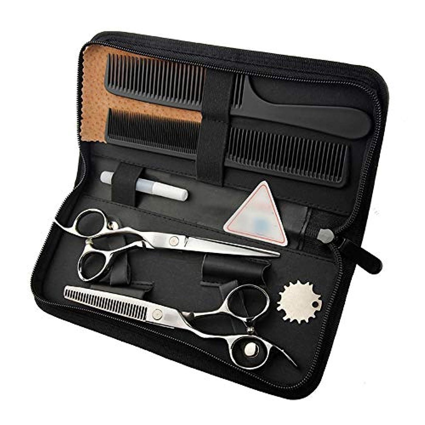 忠誠旧正月シュリンク6インチ美容院プロのヘアカットフラットシザー+歯シザー ヘアケア (色 : Silver)