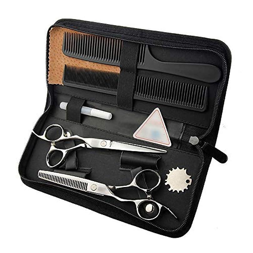 自動化甘い乱闘6インチ美容院プロのヘアカットフラットシザー+歯シザー モデリングツール (色 : Silver)