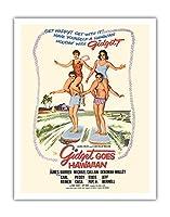 ギジェットはハワイアン行きます - 出演デボラ・ウォーリー、ジェームズ・ダーレン - ビンテージなフィルム映画のポスター c.1961 - アートポスター - 28cm x 36cm