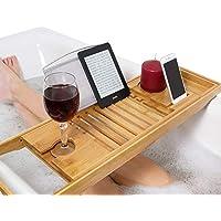 Softmate バスタブトレー バステーブル 大サイズ バスブックスタンド 伸縮式 バスタブラック 竹製 お風呂用品